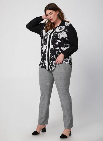 Printed Button Down Blouse, Black, hi-res,  fall winter 2019, chiffon, long sleeves, chiffon