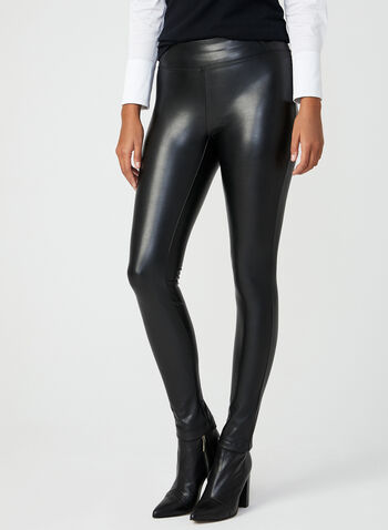 Faux Leather Pull-On Leggings, Black, hi-res