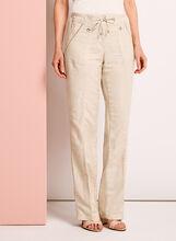 Pantalon en lin à jambe large, , hi-res