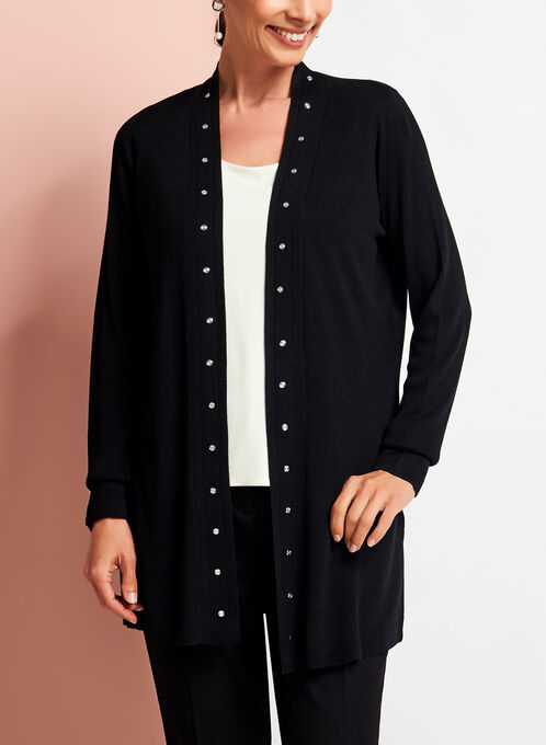 Long Sleeve Studded Edge Cardigan, Black, hi-res
