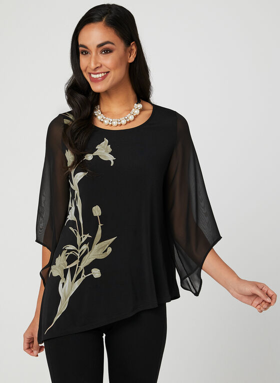 ¾ Angel Sleeve Blouse, Black, hi-res