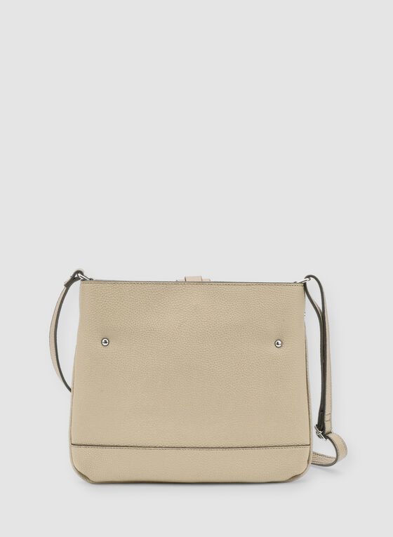 Faux Leather Crossbody Bag, Off White, hi-res