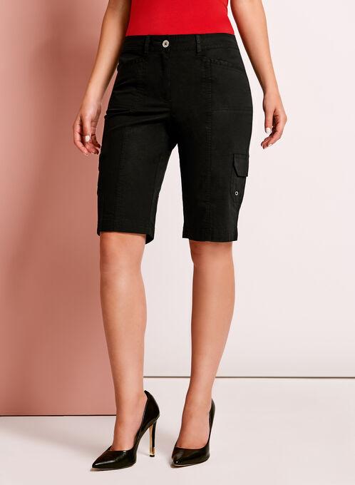 Modern Fit Cargo Shorts, Black, hi-res