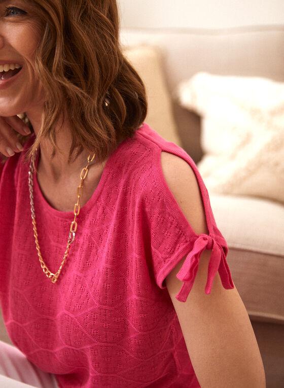 Pull en tricot pointelle à manches nouées, Rose