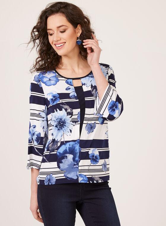 Floral Stripe Print Blouse, Blue, hi-res