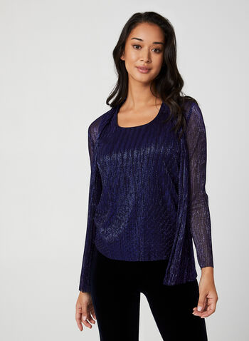Crinkle Mesh Fooler Top, Blue,  Canada, top, fooler top, long sleeves, metallic, crinkle mesh, fall 2019, winter 2019