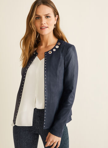 Faux Suede Open Front Jacket, Blue,  jacket, blazer, faux suede, faux suede jacket, long sleeves,