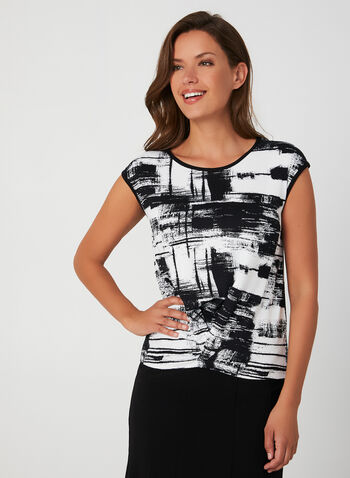 Abstract Print Top, Black, hi-res,  Top, sleeveless, jersey, abstract print, made in canada, fall winter 2019