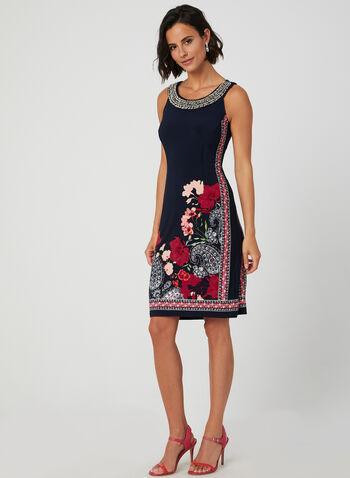 Floral Print Cleo Neck Dress, Blue, hi-res,  day dress, sleeveless, spring summer 2019, jersey