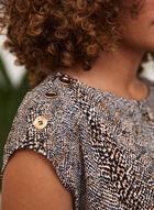 Snake Print Button Detail T-Shirt, Brown
