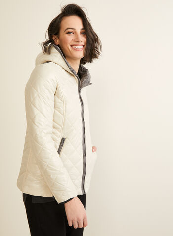 Novelti - Diamond Quilted Coat, Off White,  Novelti, coat, quilted, lightweight, washable, hood, water repellent, long sleeves GLOW, fall 2019, winter 2019