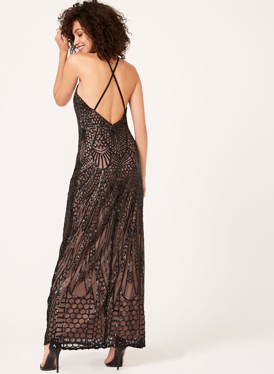 Sequin Embellished Halter Neck Gown, Black, hi-res