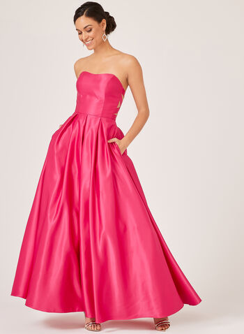 Strapless Satin Evening Gown, Pink, hi-res