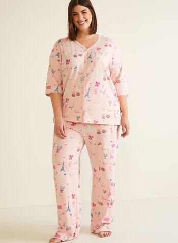 Ensemble pyjama à motif parisien, Multi,  automne hiver 2020, ensemble, pyjama
