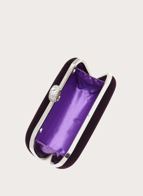 Minaudière en velours avec fermoir en bague cristal, Violet, hi-res