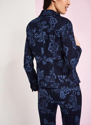 Floral Print Denim Jacket, Blue, hi-res