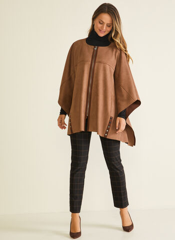 Faux Suede Zip Front Cape, Brown,  cape, faux leather, suede, zip, 3/4 sleeves, rivet, fall winter 2020
