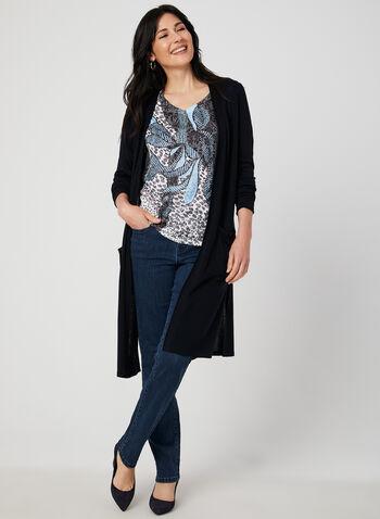 Jeans coupe signature à détails brillants, Bleu, hi-res,  jeans, signature, jambe droite, brillants, coton, automne hiver 2019