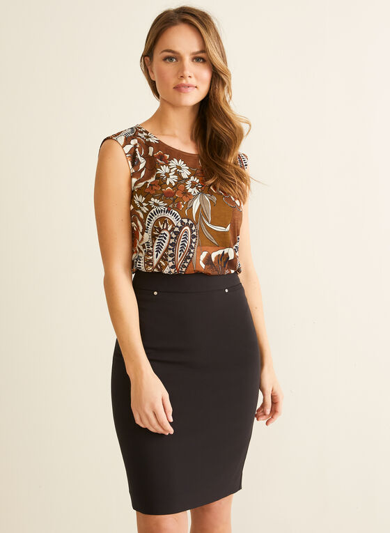 Floral & Paisley Motif Top, Orange