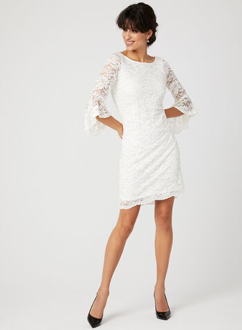 Sequin Lace Angel Sleeve Dress, Off White, hi-res