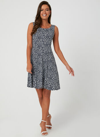Polka Dot Print Jersey Dress, Blue, hi-res,  day dress, polka dot print, jersey, sleeveless, fit and flare, spring 2019, summer 2019