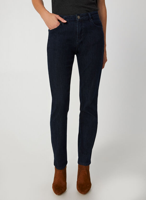 Simon Chang - Jeans coupe signature à jambe droite, Bleu