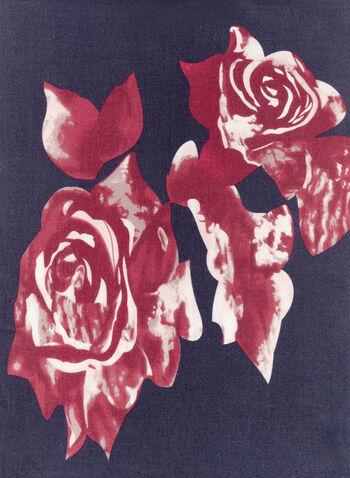 Floral Print Fringed Scarf, Blue, hi-res
