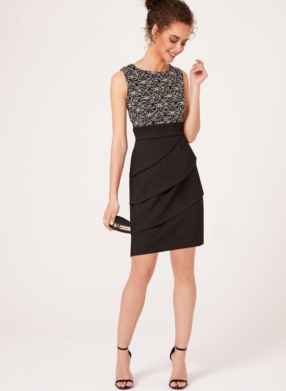 Sequin Lace Tiered Contrast Dress, Black, hi-res