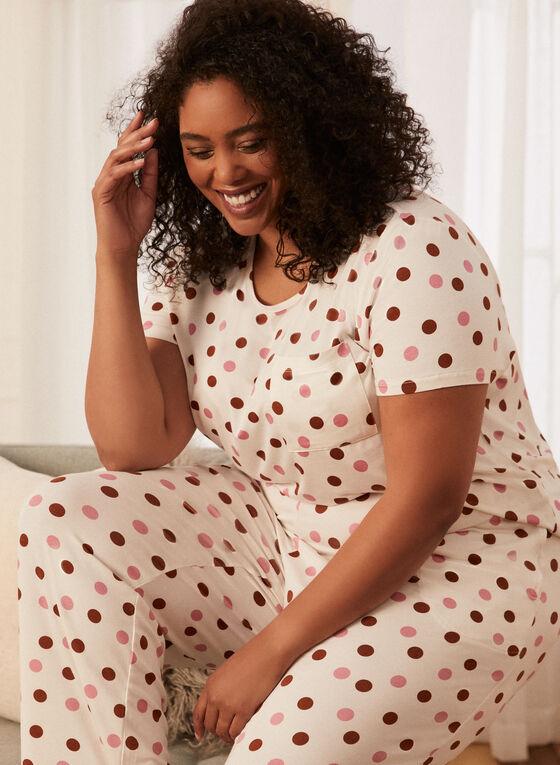 Polka Dot Pyjama Top, White