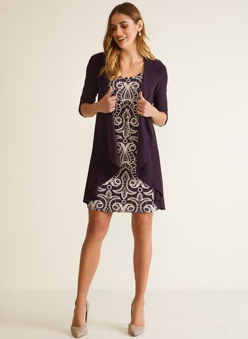 Ensemble robe et veste drapée, Violet,  automne hiver 2020, ensemble, robe, veste, drapé, sans manches, ouvert, motif, encolure ronde, manches 3/4