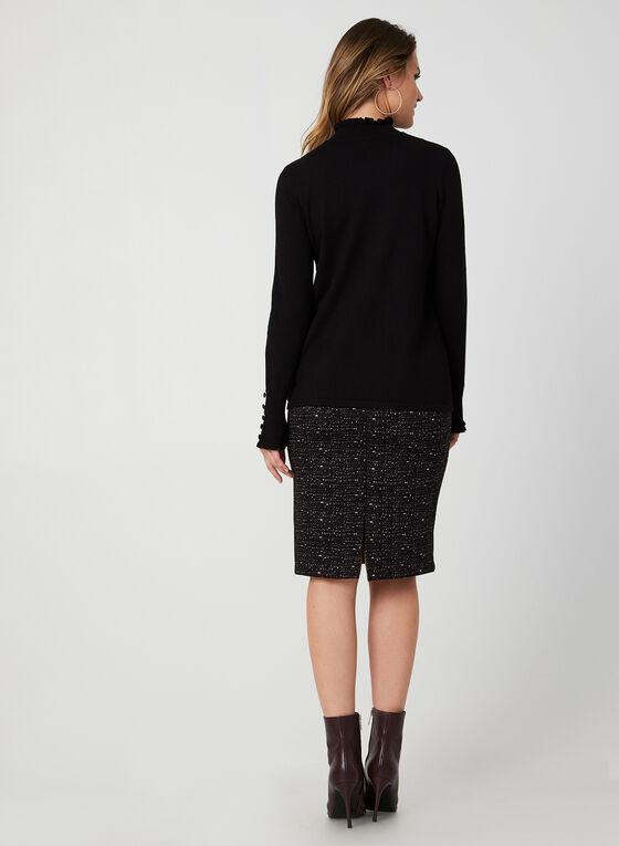 Pull en tricot à détails volantés, Noir