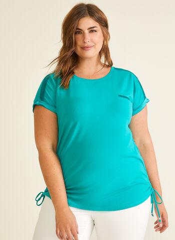 Satin & Tie Detail T-Shirt, Green,  t-shirt, short sleeves, scoop neck, satin, elastic, tie, jersey, spring summer 2020