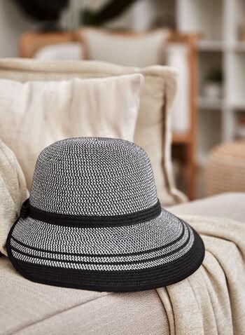 Chapeau à visière , Noir,  printemps été 2021, accessoires, chapeau, casquette, visière, noeud, rayures, bordure contrastante, paille