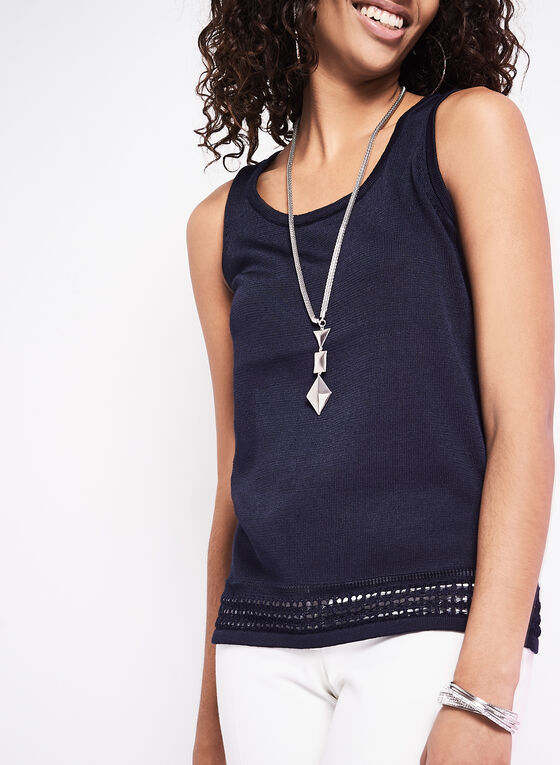 Sleeveless Pointelle Knit Top, Blue, hi-res