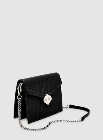 Flapover Handbag, Black, hi-res,  fauc leather, flapover, chain, metallic, geometric, fall 2019, winter 2019
