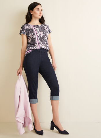 Carelli Jeans - Pull-On Denim Capri Pants, Blue,  pants, jeans, denim, capri, pull-on, stretchy, rolled-up, spring summer 2020