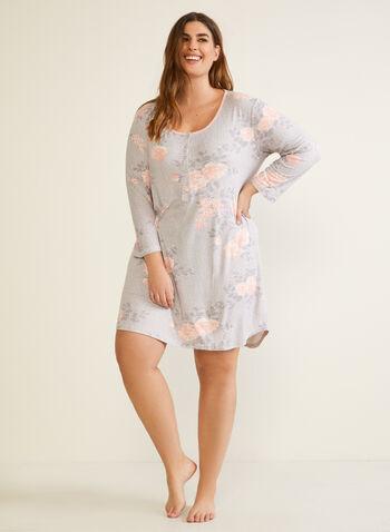 Floral Print Nightshirt, Grey,  fall winter 2020, pyjama, nightshirt, floral print