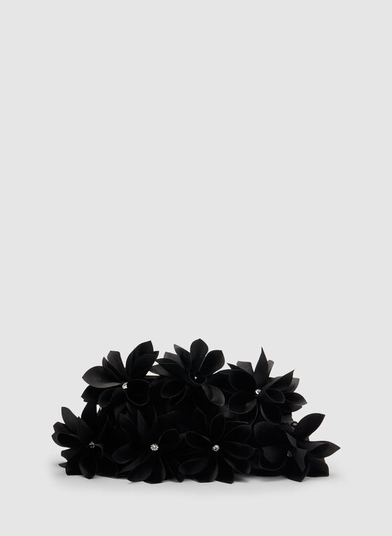 Satin Flower Clutch, Black, hi-res