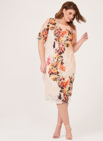 Floral Print Lace Dress, Orange, hi-res