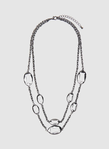 Double Chain Necklace, Grey, hi-res