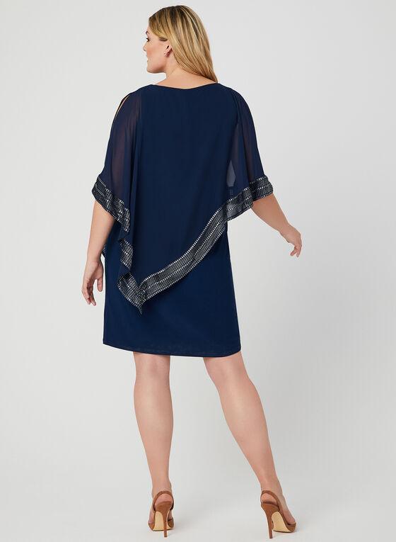 Robe poncho à détails métalliques, Bleu