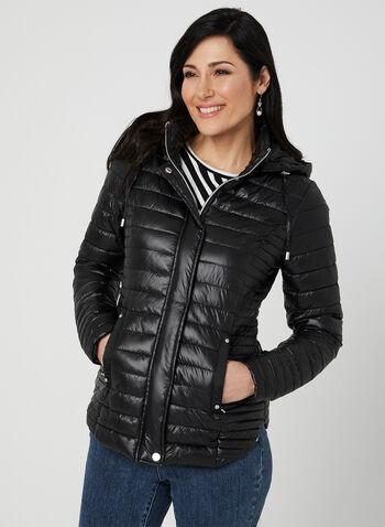 Novelti - Quilted Coat, Black,  reflective, glow, machine washable, spring 2019