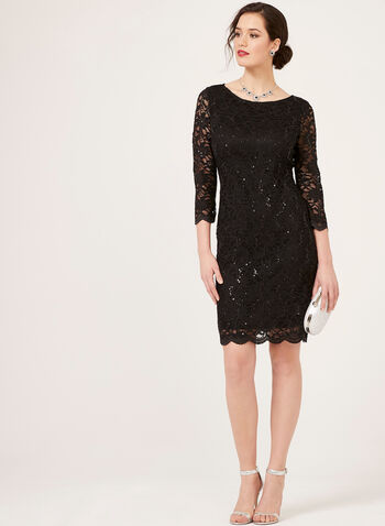 Sequin Lace ¾ Sleeve Dress, Black, hi-res