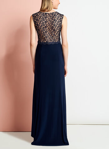 Jersey Glitter Lace Gown, , hi-res