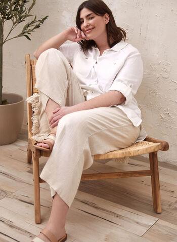 Tunique en lin à col chemisier, Blanc,  blouse, col chemisier, manches 3/4, boutons, poches, pli d'aisance, lin, printemps été 2021