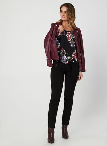 Drawstring Hem Top, Black,  fall winter 2019, jersey fabric, floral print,