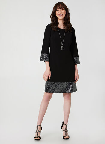 ¾ Sleeve Jersey Dress, Black,  dress, cocktail dress, jersey, sequins, 3/4 sleeves, long sleeves, fall 2019, winter 2019