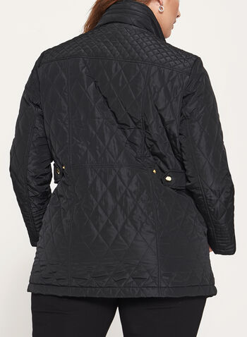 Diamond Quilted Hidden Hood Coat, , hi-res