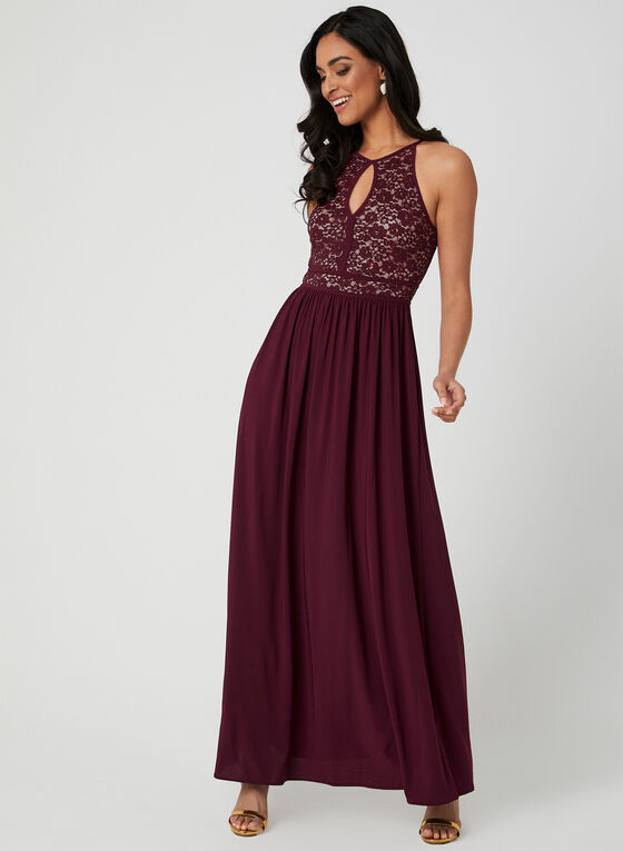 Sequin Lace Dress, Red, hi-res