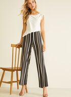 Stripe Print Gaucho Pants, Black